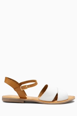 White Forever Comfort® Leather Two Part Sandals