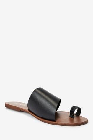 Black Regular/Wide Fit Toe Loop Mules
