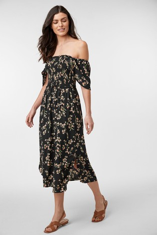 Black Ditsy Off The Shoulder Dress