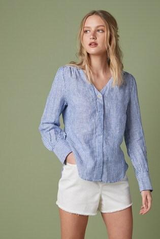 Blue Stripe Linen V-Neck Shirt
