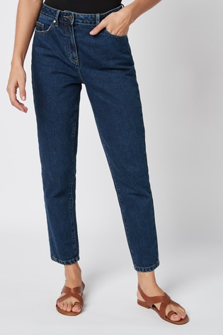 Dark Blue Mom Non-Stretch Jeans