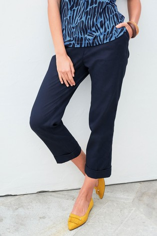 Navy Cotton Twill Taper Trousers