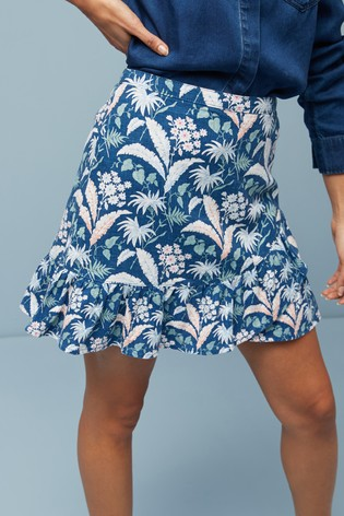 Blue Floral Linen Blend Ruffle Skirt