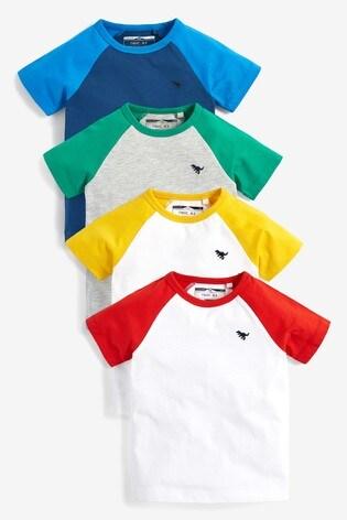 Multi 4 Pack Raglan Sleeve T-Shirts (3mths-7yrs)