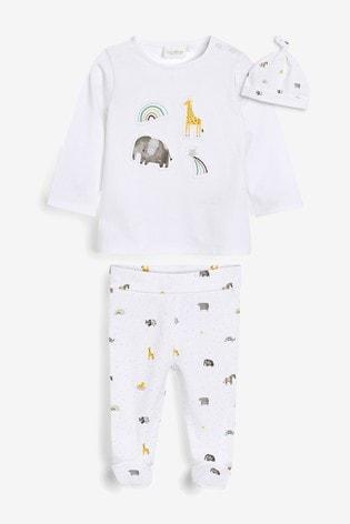 White GOTs Organic Three Piece Leggings, T-Shirt And Hat Set (0-9mths)