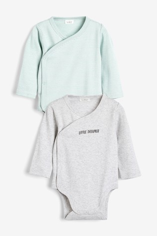 Mint 2 Pack Cotton Wrap-Over Bodysuits (0-12mths)