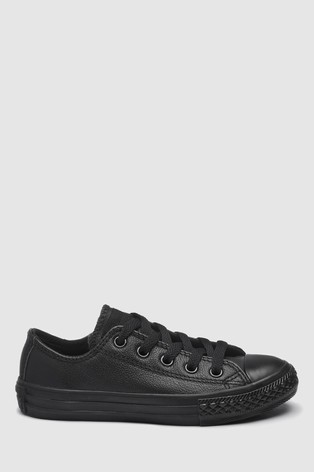 Converse Junior Black Leather Chuck Taylor Ox Low Trainers