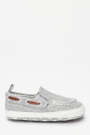 Grey Pram Slip-On Boat Shoes (0-24mths)