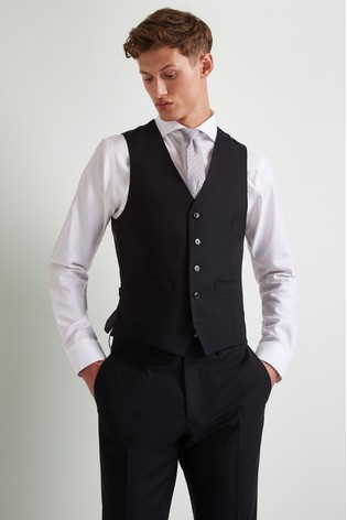 Moss 1851 Performance Tailored Fit Black Waistcoat