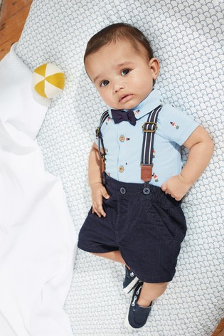 Navy Bear Print Shirt Body, Cord Shorts With Braces And Bow Tie (0mths-2yrs)