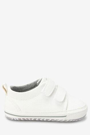 White Two Strap Pram Shoes (0-24mths)