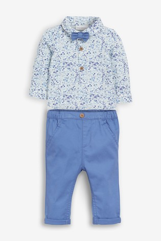 Blue Smart Floral Bodysuit, Chinos And Bow Tie Set (0mths-2yrs)