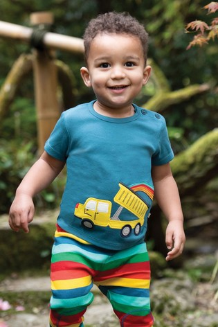 Frugi GOTS Organic Short Sleeve T-Shirt In Navy With Truck And Rainbow Appliqué