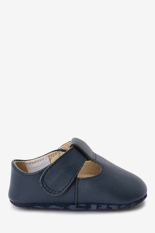 Navy Leather T-Bar Pram Shoes (0-24mths