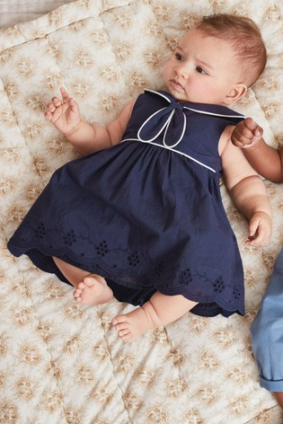 Navy Sailor Collar Dress (0mths-2yrs)