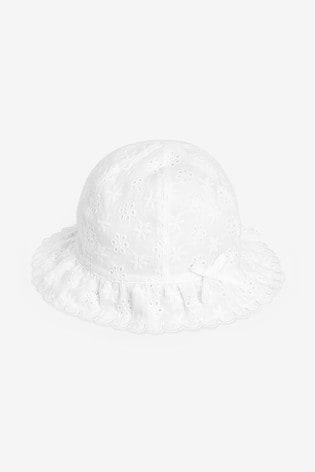 White Broderie Hat (0mths-2yrs)