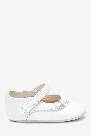 Buy White Leather Mary Jane Pram Shoes