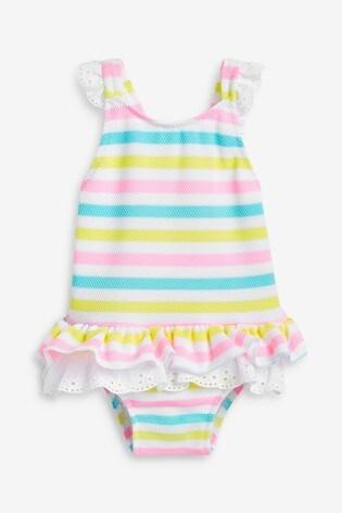 Sunuva White Stripe Broderie Swimsuit
