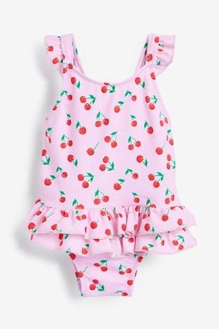 Sunuva Pink Cherries Frill Swimsuit