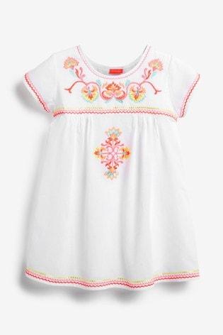 Sunuva White Embroidered Peruvian Stitch Dress