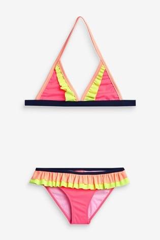 Sunuva Pink Colourblock Triangle Frill Bikini