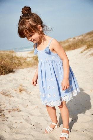 Blue Broderie Dress