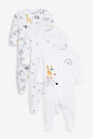 Ecru 3 Pack GOTS Organic Cotton Animal Sleepsuits (0-12mths)