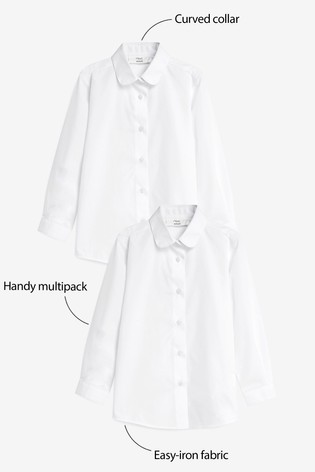 White 2 Pack Long Sleeve Curved Collar Shirt (3-16yrs)