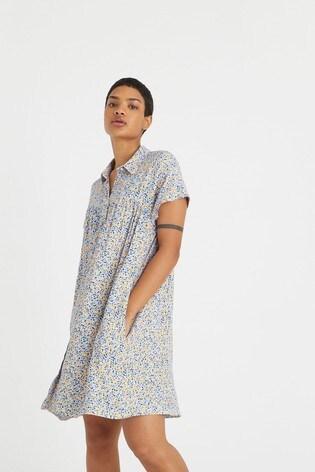 Oliver Bonas Blue Lemon Print Mini Shirt Dress