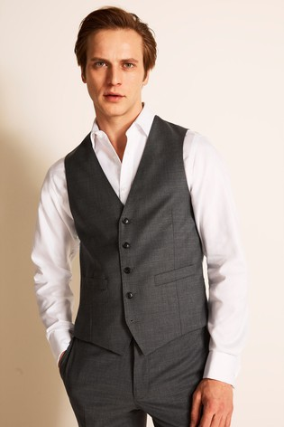 Moss 1851 Tailored Fit Grey Twill Waistcoat