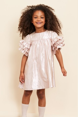 Velveteen Pink Metallic Ginny Tiered Dress