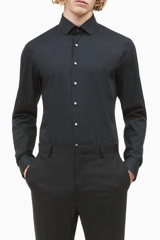 Calvin Klein Black Slim Stretch Poplin Shirt
