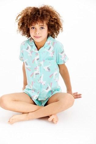 Mint Unicorn Button Through Pyjamas (2-12yrs)