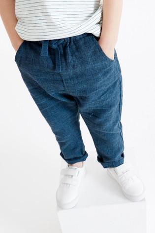 Navy Linen Blend Trousers (3mths-7yrs)