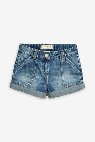 Mid Blue Turn-Up Denim Shorts (3-16yrs)