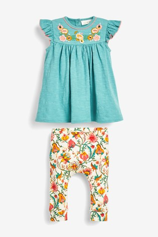 Teal Floral Embroidery Top And Legging Set (0mths-2yrs)