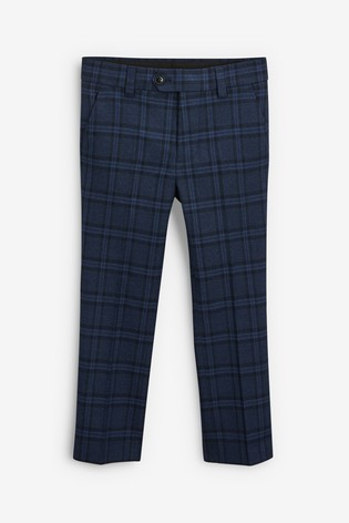 Navy Check Suit Trousers (12mths-16yrs)