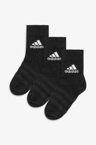 adidas Kids Black Crew Socks Three Pack