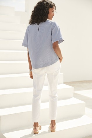 White Cropped Utility Tapered Jeans