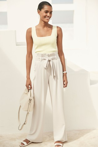 Grey Twill Belted Wide Trousers