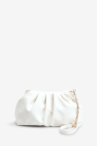 Off White Slouchy Chain Detail Across-Body Bag