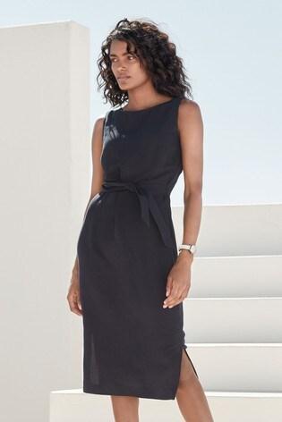 Navy Soft Belted Dress