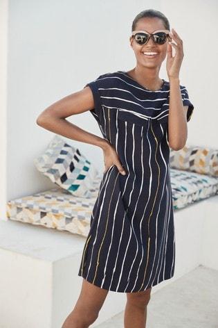 Navy Stripe Utility Dress