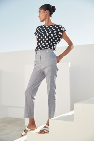 Chambray Linen Mix High Waisted Taper Trousers