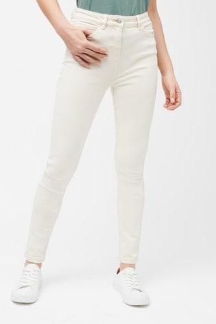 Ecru High Rise Skinny Jeans
