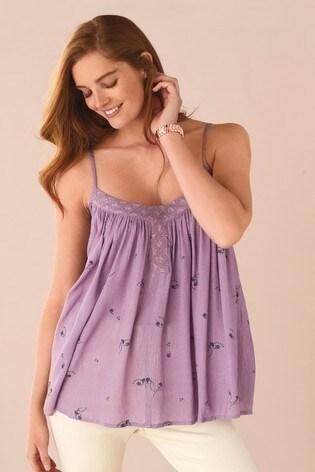 Lilac Paisley Embellished Sparkle Camisole