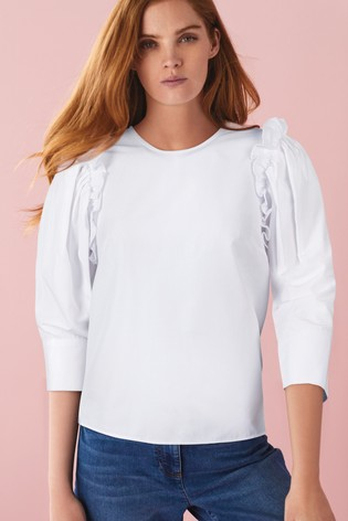 White Frill Sleeve Top
