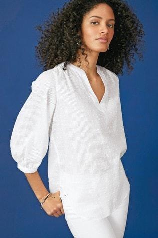 White 3/4 Sleeve Overhead Blouse