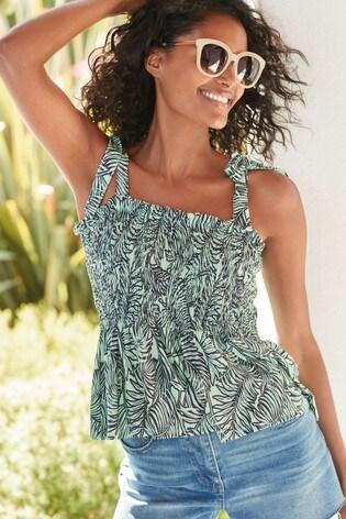 Mint Palm Print Shirred Cami