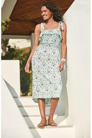 Mint Print Shirred Sun Dress